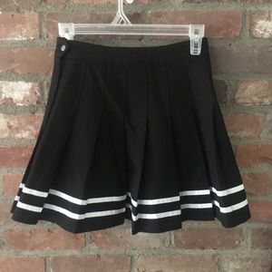 Black Pleated Skirt with White Lines Size 4